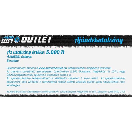 Autohifi Outlet Ajándékutalvány 5000 Ft